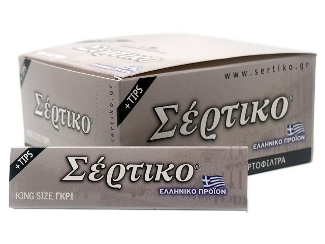 8033 - Κουτί με 24 χαρτάκια στριφτού ΣΕΡΤΙΚΟ ΓΚΡΙ KING SIZE +TIPS 51095