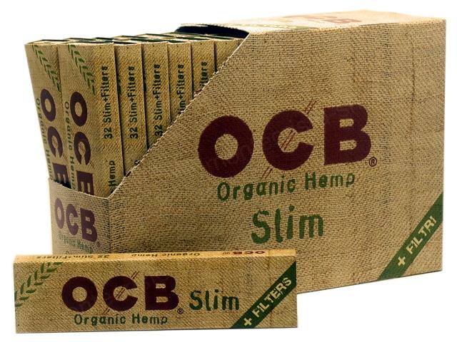 8046 - Χαρτάκια στριφτού OCB ORGANIC HEMP King Size Slim and Filters Κουτί των 32 τεμαχίων