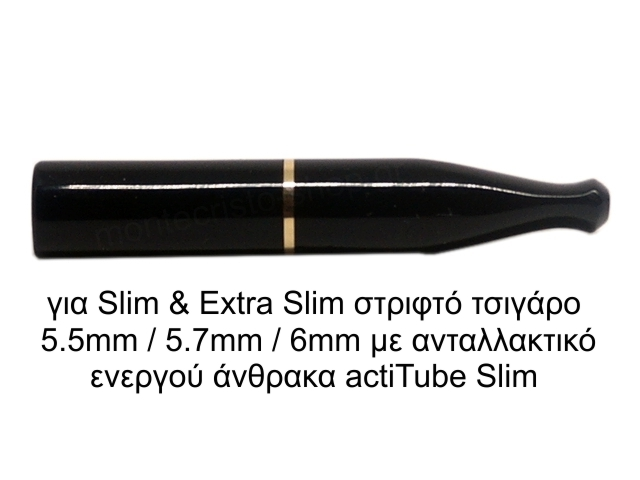 8293 - Πίπα τσιγάρου FALLION SLIM 6mm / EXTRA SLIM 5.7mm ACRYLIC BLACK