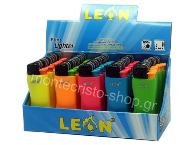 8348 - Αναπτήρας Leon Mini Lighter (WAVE) Disposable Neon Colours 170102 (κουτί με 25 αναπτήρες)