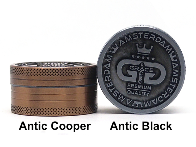 Τρίφτης καπνού AMSTERDAM GRACE 2 parts GRINDER ANTIC COOPER & ANTIC BLACK 40mm (μεταλλικός) BN-16MIX