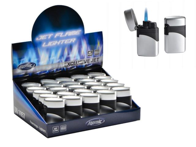 Κουτί με 25 αντιανεμικούς αναπτήρες Atomic Exclusive Jet Silver 2514511