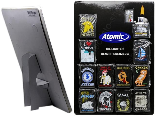 8599 - Τουριστικοί αναπτήρες Atomic ATHENS GREECE μεταλλικοί με φιτίλι (καρτέλα με 12 τεμάχια)