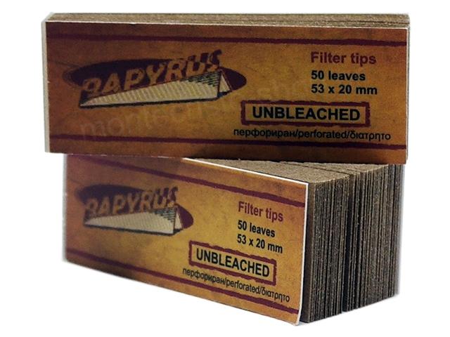 Τζιβάνες Papyrus Unbleached Filter Tips Perforated 50