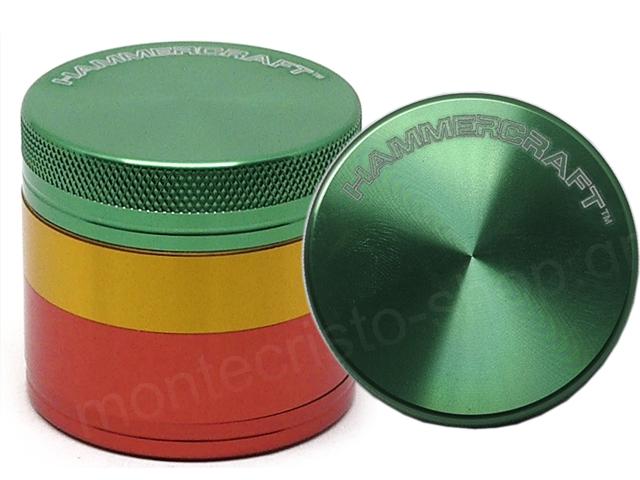 Τρίφτης καπνού HAMMERCRAFT 4 PARTS ALUMINUM 1 1/2 GRINDER RASTA 38mm 13700