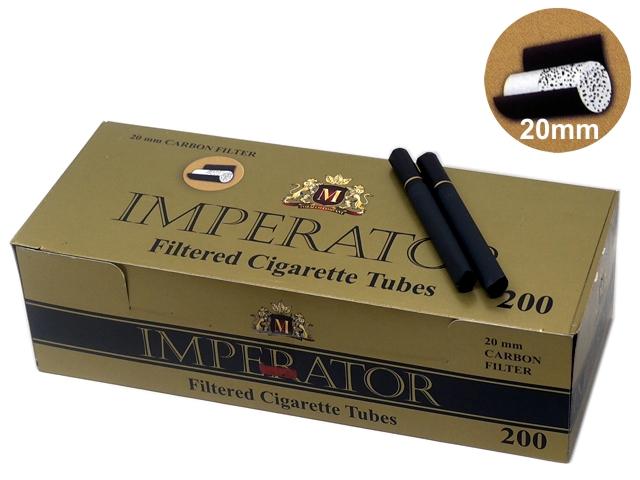 8909 - Άδεια τσιγάρα IMPERATOR 200 CARBON 20mm BLACK FILTER ΕΝΕΡΓΟΥ ΑΝΘΡΑΚΑ KS