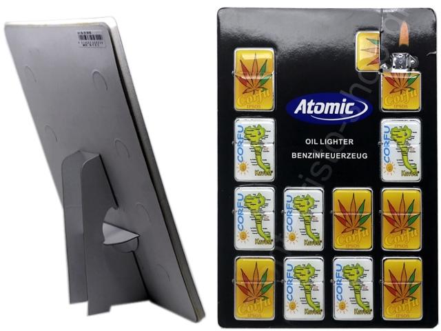 8960 - Τουριστικοί αναπτήρες ΚΕΡΚΥΡΑ CORFU 1 ATOMIC μεταλλικοί με φιτίλι (καρτέλα με 12 τεμάχια)
