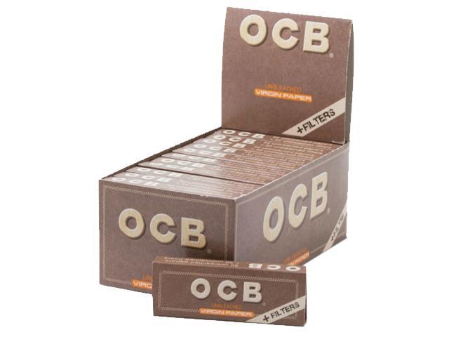8990 - Χαρτάκια OCB VIRGIN PAPER + FILTER TIPS 1 & 1/4 (με τζιβάνες) κουτί των 24