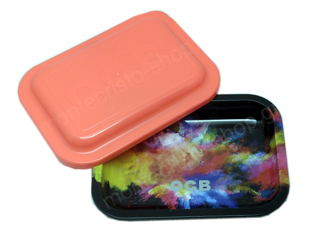9036 - OCB METAL TRAY MULTICOLOR BLACK CLOUD SMALL + COVER ΔΙΣΚΟΣ ΓΙΑ ΣΤΡΙΦΤΟ