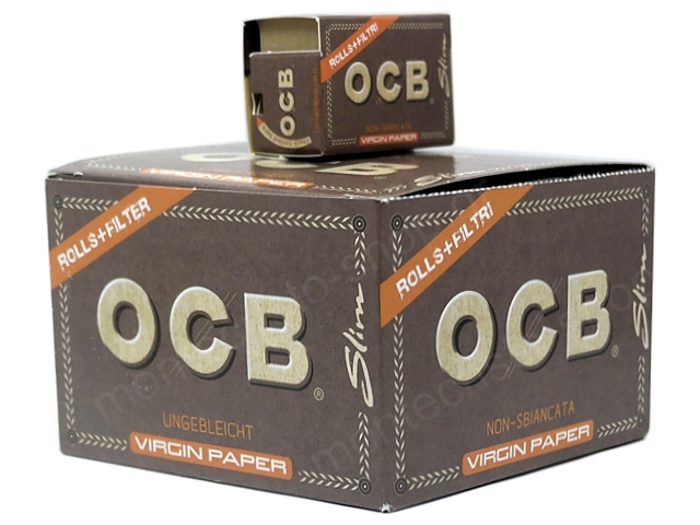 9038 - OCB ROLLS+FITER TIPS VIRGIN PAPER SLIM UNBLEACHED (κουτί των 16)