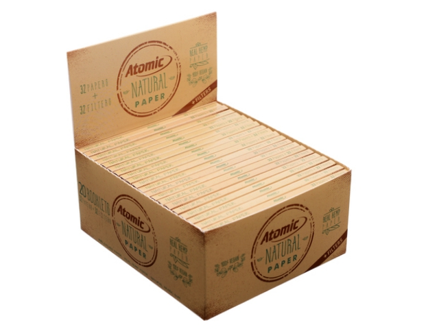9094 - ATOMIC Natural Papers King Size Maxi Pack με τζιβάνες 0164500 (13.5 g/m2) κουτί των 20