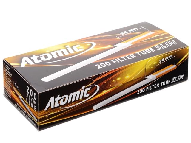 ATOMIC Zigaretten-Hülsen Slim 200 (24mm φίλτρο) άδεια τσιγάρα με μακρύ φίλτρο