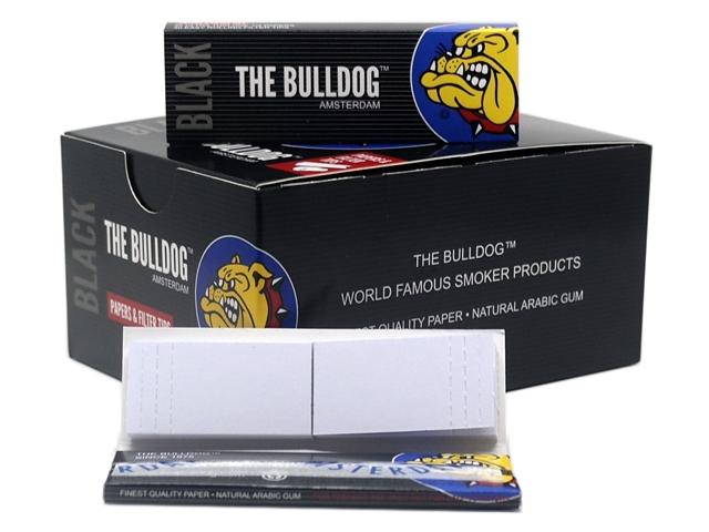 9120 - Χαρτάκια στριφτού THE BULLDOG BLACK 1&1/4 + TIPS 40 με τζιβάνες (κουτί των 24)