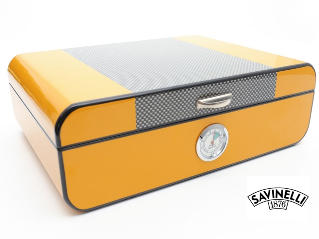 9400 - ΥΓΡΑΝΤΗΡΑΣ YELLOW LACQUERED HUMIDOR IN CARBON FIBER (COHIBA) S61195L