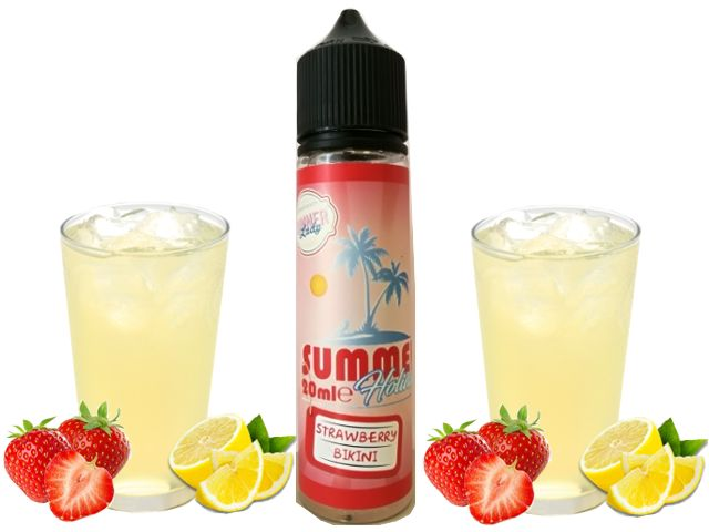 9450 - DINNER LADY SUMMER FLAVOUR SHOT MIX AND SHAKE STRAWBERRY BIKINI 20/60ml (λεμονάδα και φράουλα) μίξη με VG