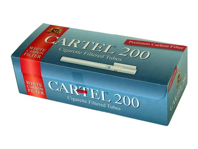 4163 - Άδεια τσιγάρα CARTEL 200 WHITE CARBON FILTER ΕΝΕΡΓΟΥ ΑΝΘΡΑΚΑ Tubes με 200 καπνοσύριγγες