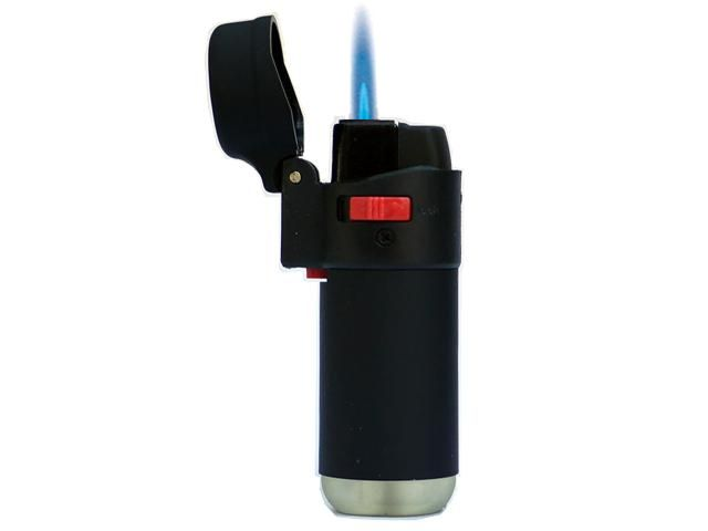 4273 - Αναπτήρας φλόγιστρο αντιανεμικός μαύρος TOM 10294-01 βαρελάκι