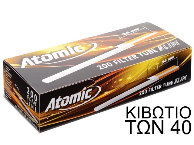 9114 - ATOMIC Zigaretten-Hülsen Slim 200 (24mm φίλτρο) κιβώτιο των 40 άδεια τσιγάρα