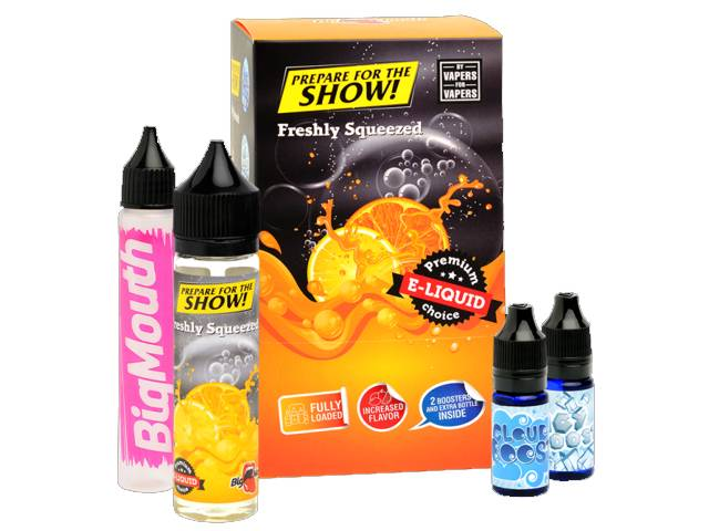 8801 - BIG MOUTH SHAKE AND VAPE PREPARE FOR THE SHOW FRESHLY SQUEEZED 50ml + 20ml βάσεις (πορτοκάλι)