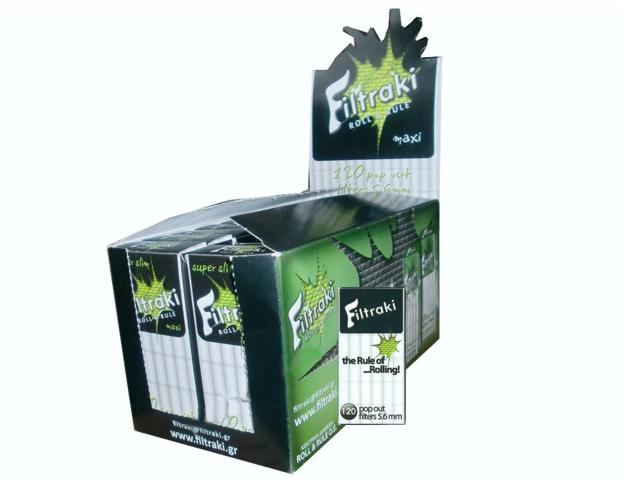 filtraki super slim 5,6mm maxi κουτί 20 τεμαχίων με 120 φίλτρα στριφτού