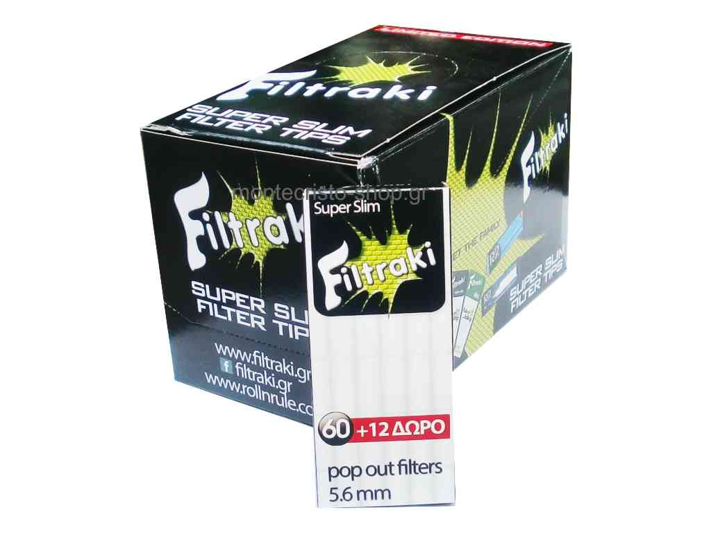 filtraki super slim 5,6mm mini κουτί 20 τεμ με 60 + 12 φιλτράκια €0,24 το ένα