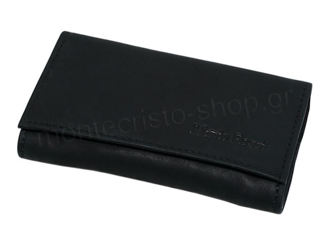 Καπνοσακούλα από γνήσιο δέρμα MARIO ROSSI 324-06 μαύρη μικρή δερμάτινη καπνοθήκη
