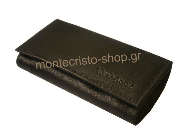 Καπνοσακούλα από γνήσιο δέρμα MARIO ROSSI 324-06-BR σκούρη καφέ μικρή δερμάτινη καπνοθήκη