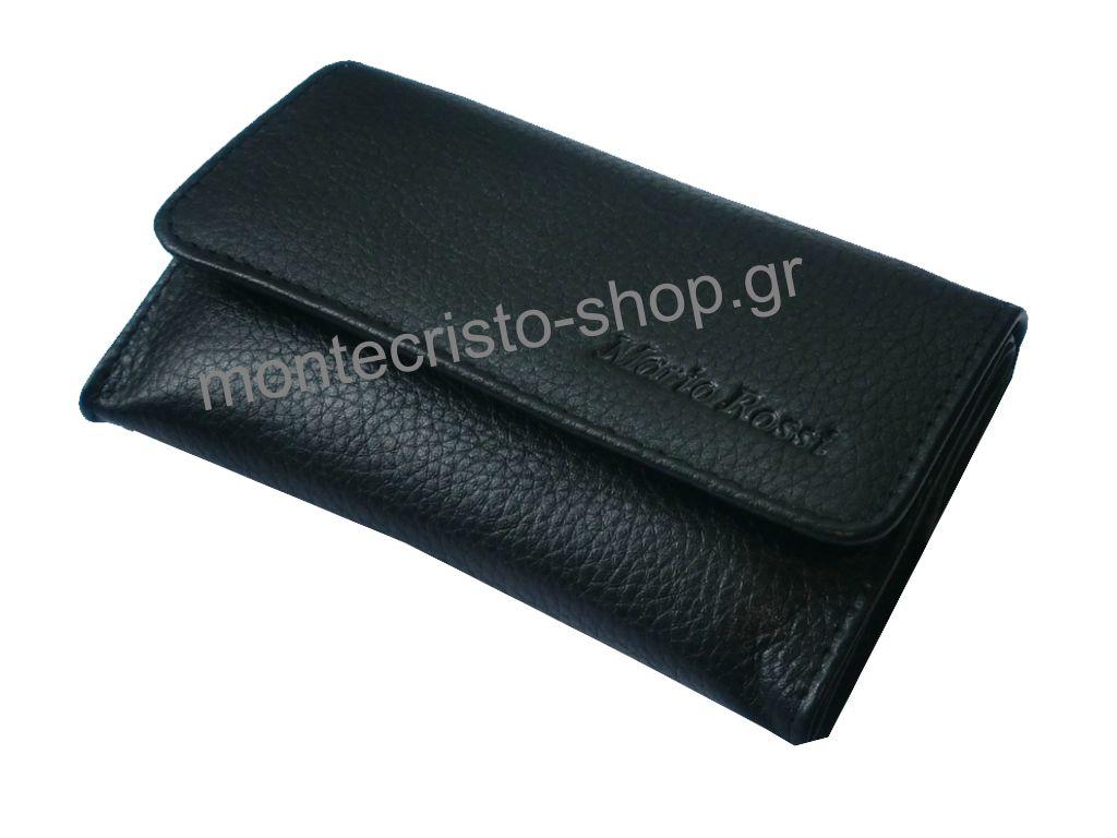 1013 - Καπνοσακούλα Mario Rossi 325-06 BLACK μαύρη μεσαία δερμάτινη καπνοθήκη