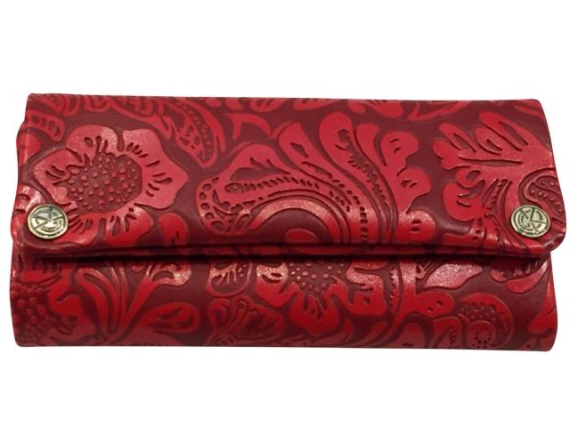 4448 - Καπνοθήκη από τεχνόδερμα ORIGINAL KAVATZA RED FLOWER TPU25