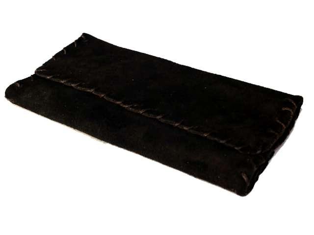 2604 - Καπνοθήκη δερμάτινη smoka 1100 σουέτ μαύρη καφέ για σακουλάκι καπνού