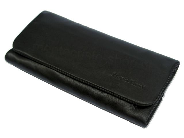 3527 - Καπνοθήκη Mario Rossi 2681-06 BLACK δερμάτινη μαύρη για σακουλάκι καπνού