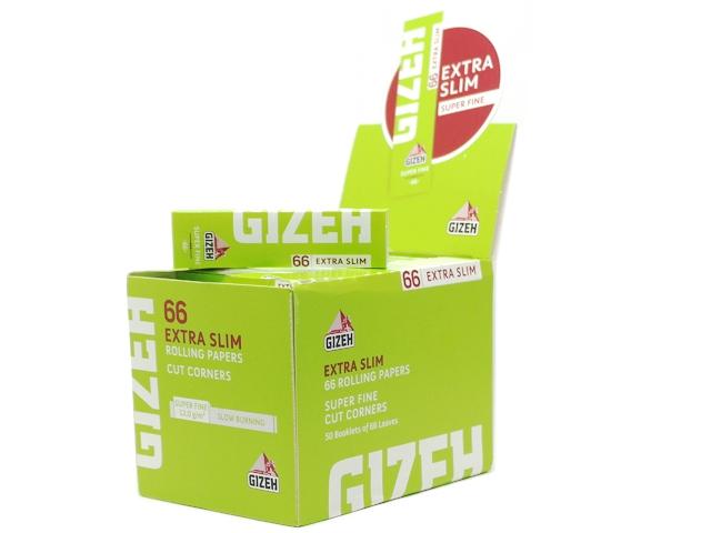 Χαρτάκια GIZEH Extra Slim Super Fine 66 (λαχανί) κουτί με 50 στενά τσιγαρόχαρτα