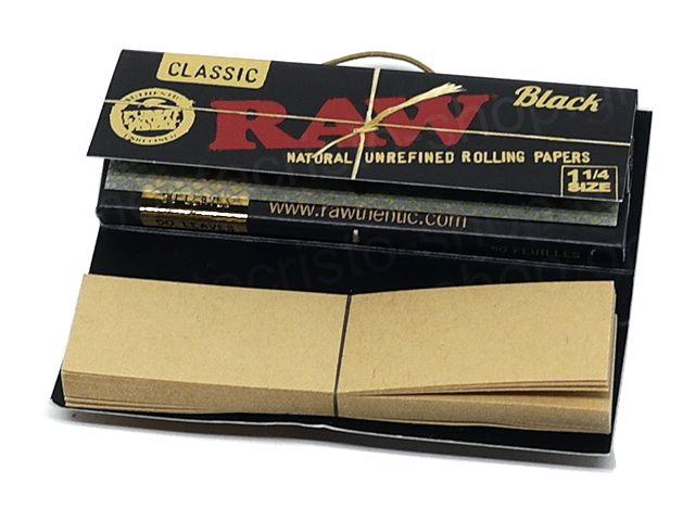 10997 - Χαρτάκια RAW BLACK 1&1/4 +TIPS ΜΕ ΤΖΙΒΑΝΕΣ CONNOISSEUR 50 χαρτάκια
