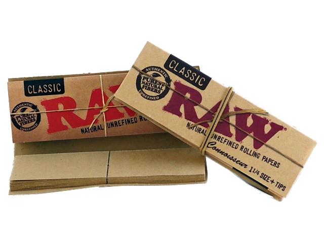 Χαρτάκια RAW Classic Ακατέργαστο Connoisseur 1 και 1 τέταρτο συν tips 32 φύλλα συν 32 τζιβάνες