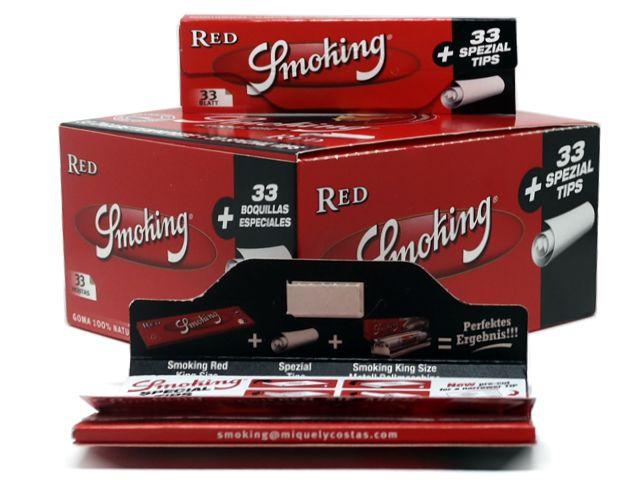 10849 - Χαρτάκια Smoking RED King Size με Τζιβάνες 99-016331 κουτί 33 τεμαχίων (κανονικό πάχος)