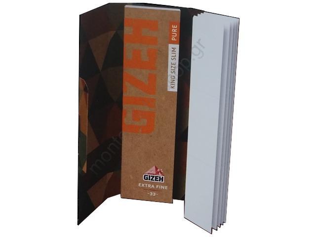 Χαρτάκια στριφτού Gizeh King Size SLIM Pure Duo (οργανική κάνναβη) με τζιβάνες GIP086