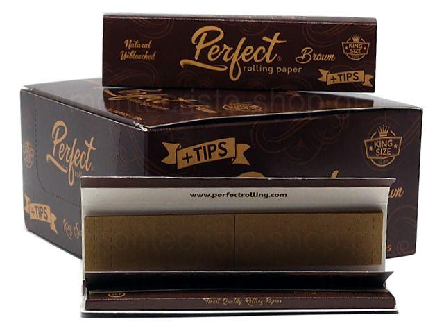 10817 - Χαρτάκια στριφτού Perfect Brown KING SIZE με ΤΖΙΒΑΝΕΣ Natural Unbleaced Ακατέργαστο (κουτί των 33)