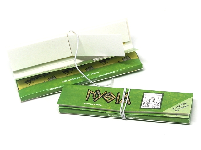 9763 - Χαρτάκια στριφτού Πυθία Pithia Πράσινα King Size με τζιβάνες