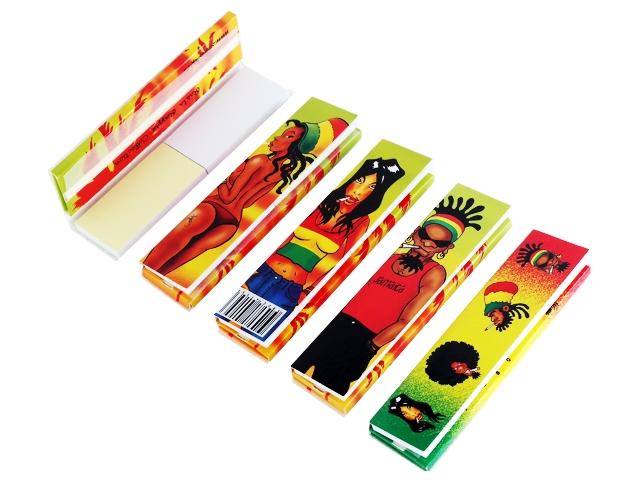 3607 - Χαρτάκια στριφτού RASTA REGGAE COLLECTION King Size + Tips με τζιβάνες