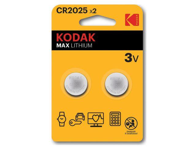 11715 - KODAK CR2025 MAX LITHIUM (2 ΜΠΑΤΑΡΙΕΣ)