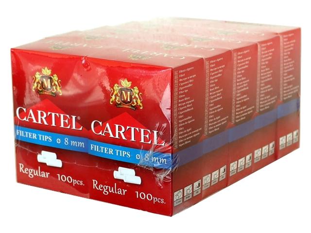 4259 - Κουτί με 10 Φιλτράκια στριφτού Cartel Regular 8mm με 100 φίλτρα το πακετάκι NEW