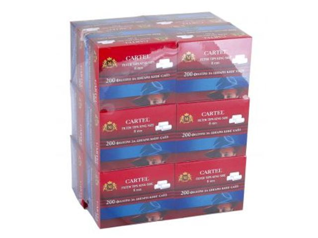 2431 - Κουτί με 12 φιλτράκια Cartel Regular 8mm με 200 φίλτρα το πακέτο και φίλτρο 15mm