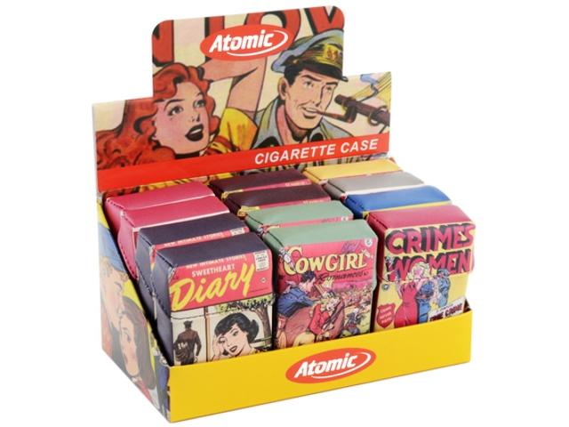 Κουτί με 12 θήκες από δερματίνη Atomic Romance για σκληρό πακέτο 20 τσιγάρων