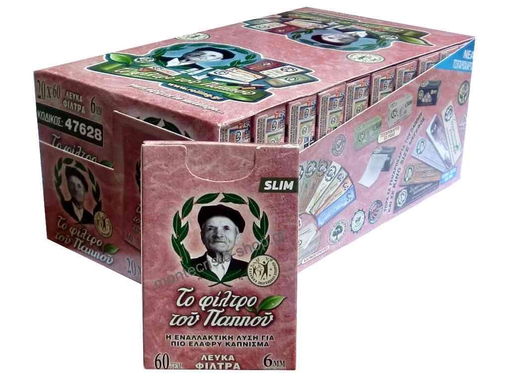 Κουτί με 20 φίλτρα του παππού 47628, 6mm, με 60 λευκά φιλτράκια τυλιγμένα με χαρτί. Τιμή 0,20 το ένα