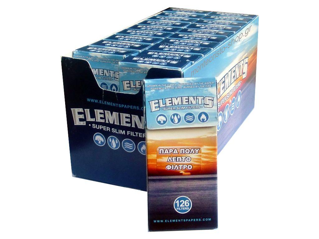 1789 - Κουτί με 20 φιλτράκια ELEMENTS SUPER SLIM 5.3mm με 126 φίλτρα σε σελοφάν