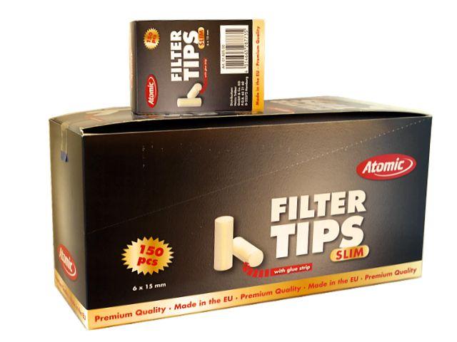 Κουτί με 20 φιλτράκια για στριφτό Atomic Filter Tips Slim 6mm 150 με κόλλα 0162500
