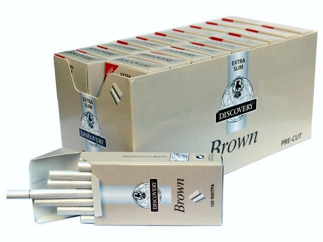 2701 - Κουτί με 20 φιλτράκια στριφτού DISCOVERY Brown Extra Slim 5.7mm (τιμή 0.43 το πακετάκι)