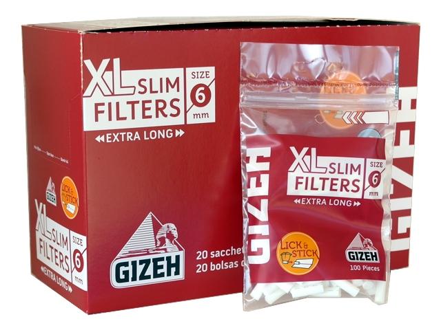 4422 - Κουτί με 20 φιλτράκια στριφτού Gizeh Slim Filters XL GIF038