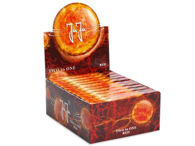 Κουτί με 22 χαρτάκια στριφτού JaJa Two in One Red King Size με τζιβάνες με τιμή 0.61 το ένα