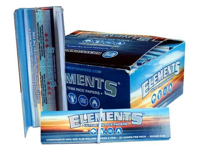 2827 - Κουτί με 24 χαρτάκια στριφτού Elements Connoisseur King Size Slim + Tips (τζιβάνες) (0.84 το χαρτάκι)